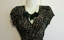 BARBARA HULANICKI GEORGE ASDA Beige Black Print Dress Size 10