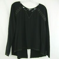 Miss Me Womens Black High Low Split Back Lace 3/4 Sleeve Top Blouse Shirt Size M