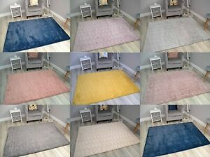Plain Bedroom Rugs Faux Fur Ultra Soft Wool Shaggy Thick Pile Floor Carpets Mats