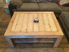 STUNNING !! CHUNKY,RUSTIC STYLE COFFEE TABLE USING 4 INCH THICK TIMBER/INC SHELF