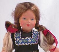 Vintage German Girl Doll Celluloid & Plastic Traditional Bavarian Costume 8in.