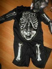Halloween Spine Tingling Skeleton Costume Size 5-6 Years Expose to light for Ref