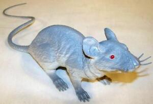 GIANT SIZE GREY RUBBER 17 IN RAT fake mouse play rats joke trick mice halloween