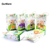 6×Paper Candy Box Kids Animal Theme Jungle Birthday Party Candy Treat Gift Bags