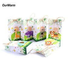 6×Paper Bag Jungle Safari Animals Party Animal Candy Box Safari Animal Gift Bag
