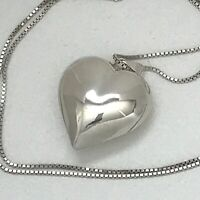 """Vintage Puffy Heart Sterling Silver Necklace Hollow 24""""  Valentine's Day 925"""