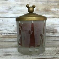 Disney Mickey Mouse Frosted Glass Scented Jar Candle Gold Metal Lid Unburned