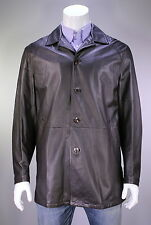 * GIMO'S * Brown Pebble Grain Leather Button Front 3/4 Length Coat Jacket~ Large