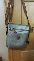 GIANI BERNINI SAFFIANO CROSSBODY SHOULDER PEWTER DARK TAN HANDBAG PURSE $119