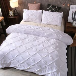 White Diamond Pintuck Floral Quilt Doona Duvet Cover Set Queen King All Size Bed