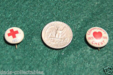 Amercian Red Cross 1921 & Community Chest 1925 Pin Back Buttons