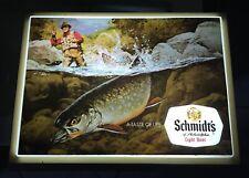 Old Schmidt's Beer Sign Light Up Backbar Fisherman Trout Fish Stream Scene