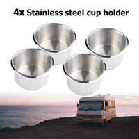 4x Stainless Steel Poker Table Cup Drink Holder Insert For Car Boat Truck Marine