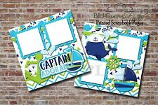 Captain Adorable Boy Whale Boat 2 PRINTED Premade Scrapbook Pages BLJgraves 59