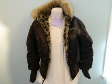 Eckored Brown Nylon Hooded Jacket Coat Xl Leopard Spot lining 11 Pics!