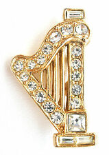 Vintage Ora Harp Brooch with Clear Rhinestones Gold Pin Musical Fashion Jewelry