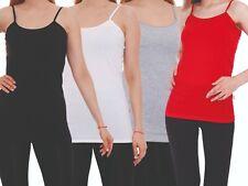 4Stk. Damentop Spaghettiträger Unterhemd weiß schwarz Tanktop Shirt Baumwolle
