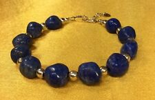 Carolyn Pollack Sterling Silver Blue Lapis Bead Gemstone Bracelet Fine Jewelry