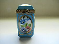 Peint Main Limoges Trinket- Tall Box With Framed Paintings Of Mixed Flowers