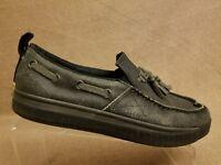 Sorel Sentry Men's Canvas Boat Moccassins Deck Loafers Gray Tassel Shoes Size 10