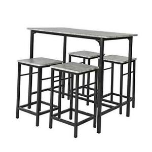 OGT11-HG 5 Piece Dining Set Dining Table with 4Stools Home Kitchen Grey