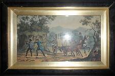 1850-ASSALTO ALLA DILIGENZA-HORSE CARRIAGGE-LITOGRAFIA COLORATA CON CORNICE