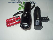UltraFire Cree XML T6 1600 Lm Zoomable Flashlight Torch w/ 2 Batteries & charger