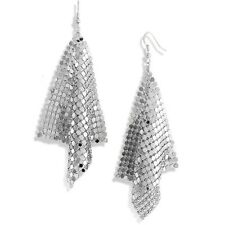 Silver Sequin Square Mesh Drop Cluster Earrings - Free Gift Bag