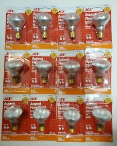 LOT OF 12 ACE 25 WATT R14 Accent Floodlight Bulb, Intermediate Base 3019817