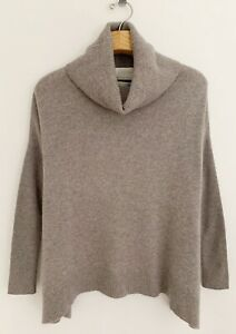 CYNTHIA ROWLEY 100% 2-ply Cashmere Sweater Sz S Beige Brown Cowl Neck Relaxed