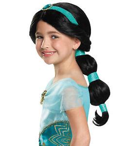 Jasmine Disney Princess Aladdin Arabian Genie Story Book Week Girls Costume Wig