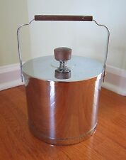 VINTAGE ATAPCO ICE BUCKET CHROME & WOOD MADE IN U.S.A. Silver color vtg retro
