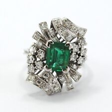 BEAUTIFUL VINTAGE RING IN 18K WHITE GOLD EMERALD AND DIAMONDS