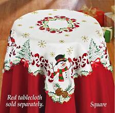 "Vintage Snowman Christmas Decor Tablecloth Topper Cardinal Shimmery Stars 34""x34"