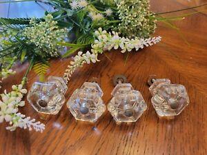 4 Vintage Antique Glass Drawer Knobs Hexagon Cabinet Dresser  Larger