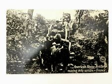 Antique WW1 Rare Postcard - Amrican Heavy Artillery Moving Into Action - France