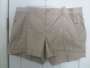 Sonoma Goods for Life 24W Cotton Beige Mid Rise Shorts NWT
