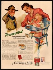 1943 CARNATION Milk - Boy Scouts - Mother With Cute Baby - High Chair VINTAGE AD
