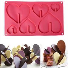 6 Cavity Big&Small Love Heart Shape Silicone Cake Chocolate Baking Mold New