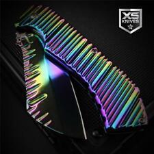 """Rainbow Titanium Plasma RIPPLE Cleaver Tanto Spring Assisted Pocket Knife 7.75"""""""