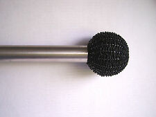 2 x colours collection black beaded ball finials curtain pole ends 35mm Push Fit