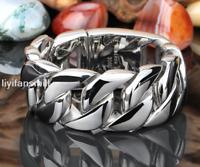 Heavy Men's Silver 316L Stainless Steel Curb Cuban Chain Bangle Link Bracelet