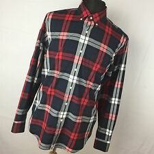 J Crew M Medium 15 15.5 Shirt Black Red Plaid Button Down Front Men's L/S H6