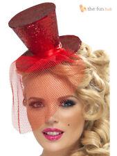 Ladies Mini Top Hat Headband + Veil Hen Night Halloween Burlesque Fancy Dress