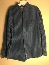 FIELDMASTER Men's Size Large 100% Cotton Striped Long Sleeve Button Front Shirt