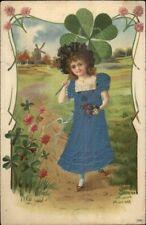 Beautiful Girl w/ Giant 4-Leaf Clover REAL SILK DRESS c1910 Postcard