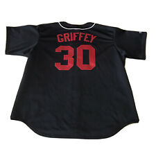 Vintage Majestic Cincinnati Reds Ken Griffey Jr Black Jersey Sz 2XL MLB All Star