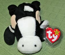 "TY BEANIE BABIES DAISY COW 8"" BLACK WHITE PLUSH STUFFED 1993 with HEART TAG VTG"