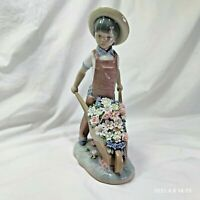 Lladro Wheelbarrow With Flowers 1283 Gardener Boy Cart Figurine RETIRED
