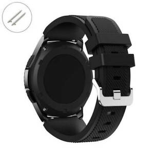 Black Rubber Silicone Replacement Watch Band Strap Quick Release Pins 4041